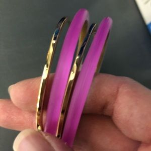 🆕 Alexis Bittar Set of 2 Gold & Lucite Bangles
